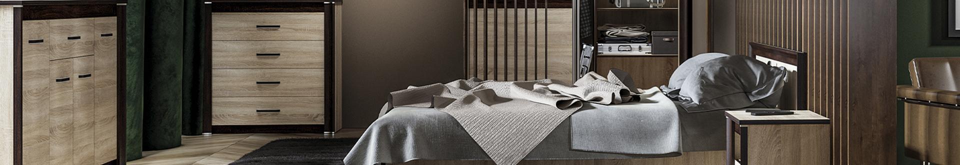Ciemno brązowa sypialnia