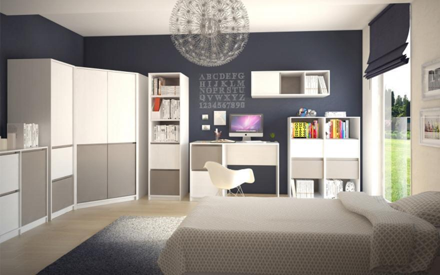 Biało-niebieski pokój